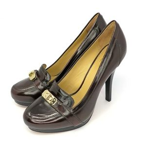 "Coach Luisa Brushed Calf Leather Bordeaux 4"" Heels"